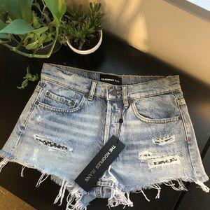 The Kooples destructed denim shorts